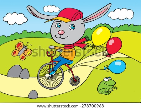 Rabbit on city bicycle, drawing, cartoon - stock photo