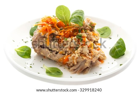Rabbit stew on a white background. - stock photo
