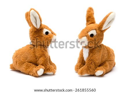 rabbit toy isolated on white - stock photo