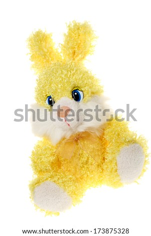 rabbit toy romatic gift/Rabbit toy isolated on white - stock photo