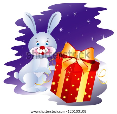 Rabbit with Gift - stock photo