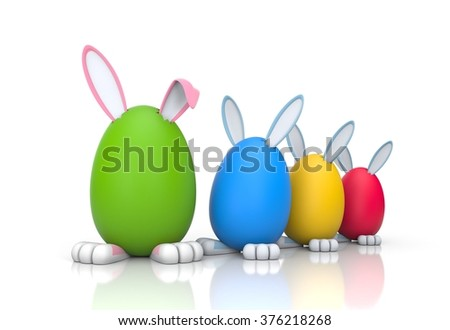 Rabbits in the colored eggs