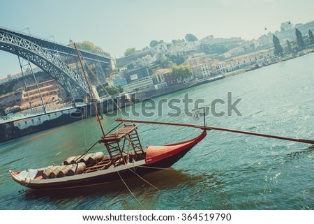 Rabelo boat, wine transport on Douro river, Porto.