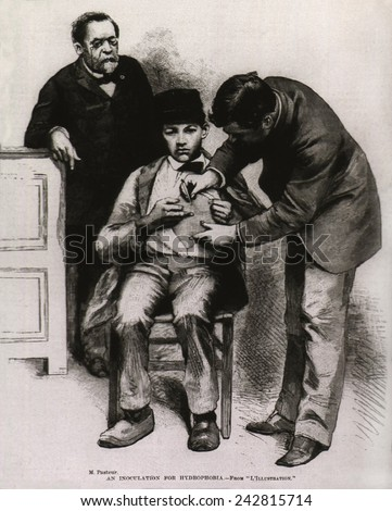 Rabies (hydrophobia) vaccination administered to teenage Jean-Baptiste Jupille at the Pasteur laboratory, in October 1885. - stock photo