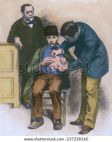 Rabies virus hydrophobia vaccination being given to teenage Jean-Baptiste Jupille at the Pasteur laboratory in October 1885 wood engraving with modern watercolor. - stock photo