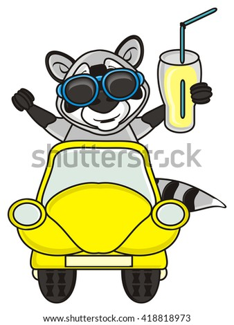 raccoon in sunglasses with drink  sits and looks out a yellow car