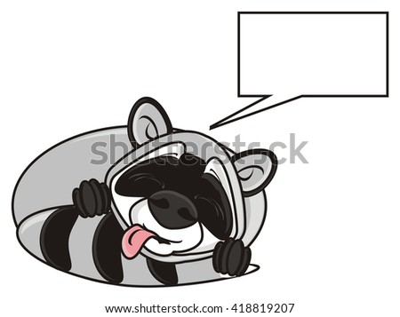 raccoon sleeping with his tongue out and about something dreams