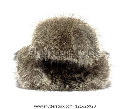 Raccoon winter hat on a white background