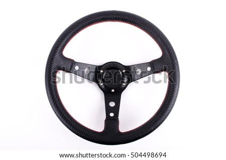 race car Steering wheel on white