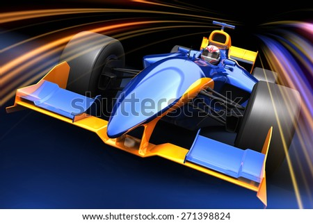 Race car with no brand name is designed and modelled by myself - stock photo