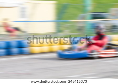 race go-kart track with motion blur effect