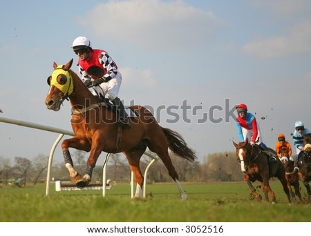 RACE HORSES PASSING AT SPEED - stock photo