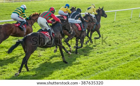 Race horses sprinting words the finish line - stock photo