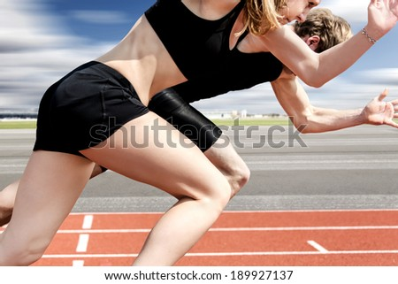 Race of male and female track and field athletes on airport runway