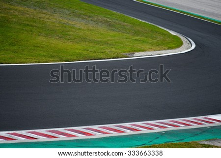 Race track curve road for car racing , close up - stock photo