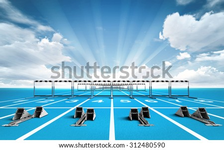 race track with starting blocks and hurdles outside sport theme render illustration background - stock photo