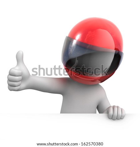 racer with thumb up. image with a work path - stock photo