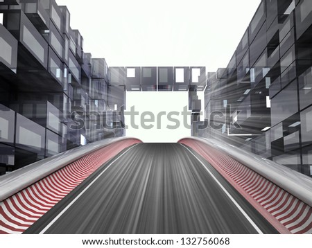 racetrack hill in modern city space illustration - stock photo