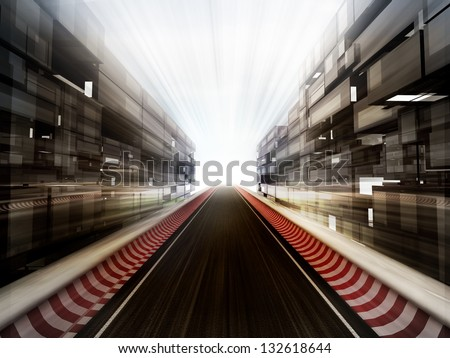 racetrack in glass business city background illustration - stock photo
