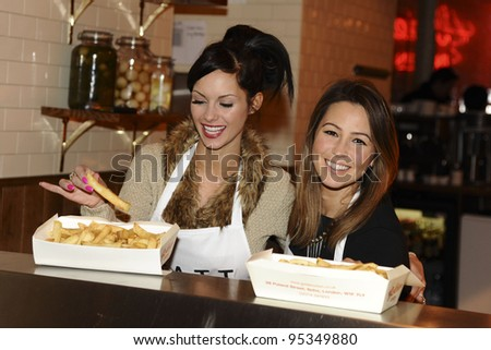 Rachel Stevens and Jessica Jane Clement during the  EATT (Eat at the Table) photocall, The Golden Union Chip Shop,  London. 08/02/2012 Picture by: Steve Vas / Featureflash