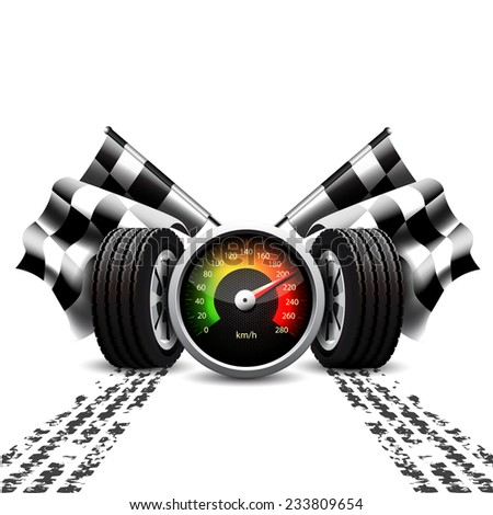 Racing background, speedometer, checkered flags and wheels with tyre treads on white - stock photo