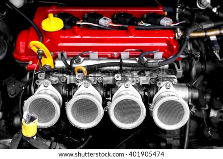 Racing car engine block - stock photo