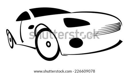 Racing car silhouette - Illustration on white - stock photo