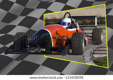 Racing Car with finish flag background.Out of bounds - stock photo