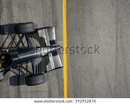 Racing Car with standing at line background - stock photo