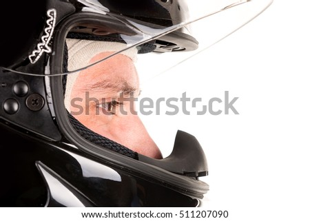 Racing driver head with helmet isolated in white