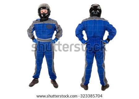 Racing driver posing in full gear isolated in white - stock photo