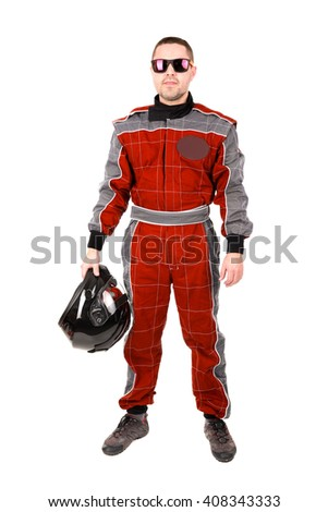 Racing driver posing with helmet and sunglasses isolated in white