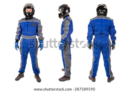Racing driver posing with helmet in several positions isolated in white - stock photo