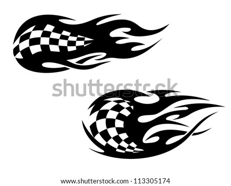 Racing flag with flames as a racing sports tattoo, such a logo template. Vector version also available in gallery - stock photo