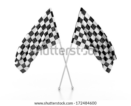 racing flags. 3d illustration - stock photo