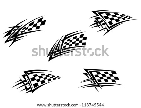 Racing flags in tribal style for tattoo design, such a logo template. Vector version also available in gallery - stock photo