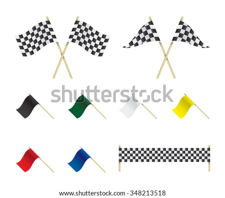 Racing flags set illustration - stock photo