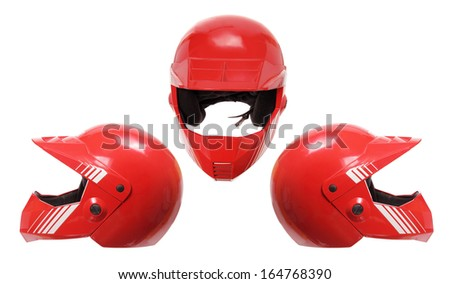 Racing Helmets on White Background