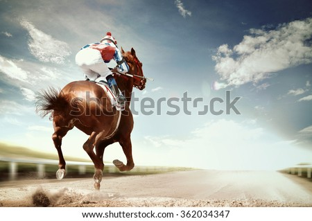 racing horse coming first to finish line in vintage style