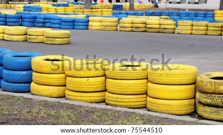 Racing line with color tires - stock photo