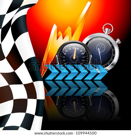 Racing poster raster illustration - stock photo
