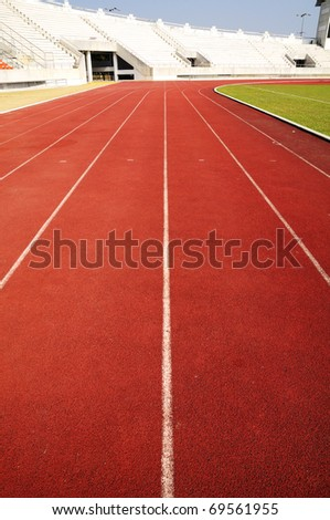 Racing run way track perspective line view - stock photo