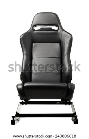 racing simulator seat, isolated on white - stock photo