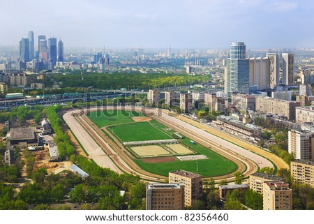 Racing track at Moscow hippodrome - aerial view - stock photo