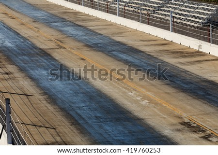 Racing track tire marks