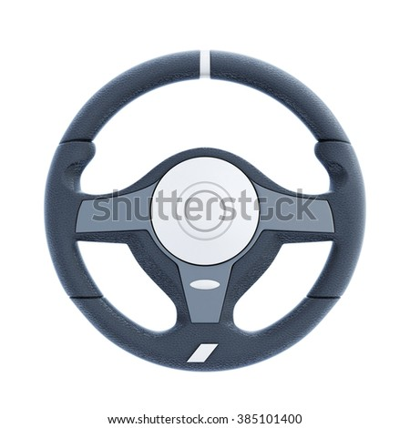 Racing wheel isolated on white background. 3d rendering. - stock photo