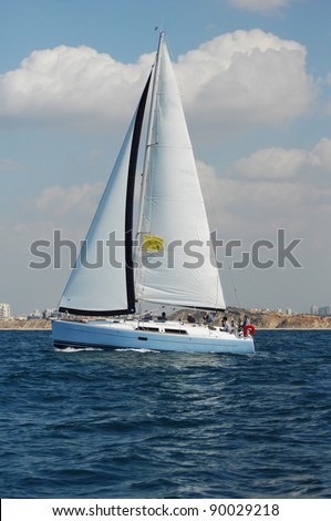 Racing yacht in a  Mediterranean sea - stock photo