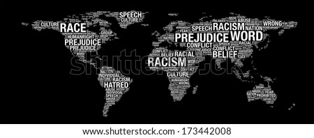 Racism concept on world map illustration in word collage - stock photo