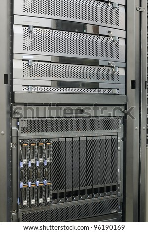 Rack mounted system storage and blade servers
