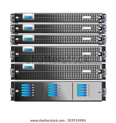Rack, of five servers isolated - Raster Version - stock photo